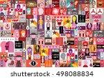 large vector pop art collage of ... | Shutterstock .eps vector #498088834