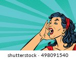 pop art retro girl screams ... | Shutterstock .eps vector #498091540