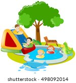 children playing and swimming... | Shutterstock .eps vector #498092014