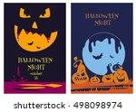 happy halloween party poster... | Shutterstock .eps vector #498098974