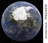 earth focused on north pole... | Shutterstock . vector #498106858