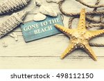 gone to the beach summer... | Shutterstock . vector #498112150