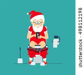 santa claus hipster sits on ... | Shutterstock .eps vector #498112198