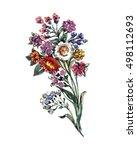 bouquet flowers watercolor | Shutterstock . vector #498112693