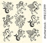 heraldic monsters. vector... | Shutterstock .eps vector #498115399