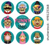 funny family icons vector set.... | Shutterstock .eps vector #498125368