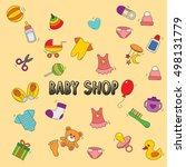 baby shop doodle icon vector... | Shutterstock .eps vector #498131779