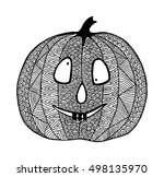 hand drawn halloween pumpkin.... | Shutterstock .eps vector #498135970