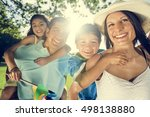 father daughter piggyback... | Shutterstock . vector #498138880