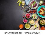 colorful vegetarian feast... | Shutterstock . vector #498139324