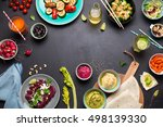 colorful vegetarian feast... | Shutterstock . vector #498139330