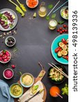colorful vegetarian feast... | Shutterstock . vector #498139336