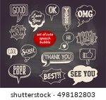 cute speech bubble on blackboard | Shutterstock .eps vector #498182803