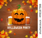 halloween pumpkin beer party.... | Shutterstock .eps vector #498187588