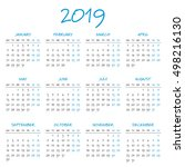 simple 2019 year calendar | Shutterstock .eps vector #498216130