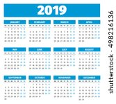 simple 2019 year calendar | Shutterstock .eps vector #498216136