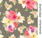 seamless pattern with flowers... | Shutterstock . vector #498216418