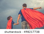 father and son playing... | Shutterstock . vector #498217738