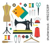 sewing equipment kit and tools... | Shutterstock .eps vector #498225289