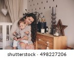 happy mother and baby son... | Shutterstock . vector #498227206