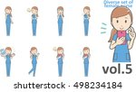 diverse set of female nurse  ... | Shutterstock .eps vector #498234184