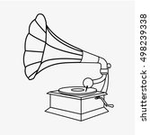 Old Gramophone Outline. Vector...
