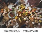 people celebrating thanksgiving ... | Shutterstock . vector #498239788