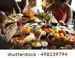 children eating turkey... | Shutterstock . vector #498239794