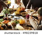 children eating turkey... | Shutterstock . vector #498239818