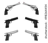 weapons pistol and a revolver....   Shutterstock .eps vector #498264454