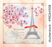 Paris Card with Eiffel tower and Magnolia flowers on watercolor background. Vector illustration. Postcard. Template for design.