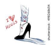 elegant beautiful woman legs...   Shutterstock .eps vector #498268654