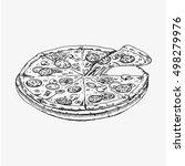 pizza isolated on white... | Shutterstock .eps vector #498279976
