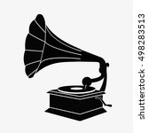 Old Gramophone Silhouette. Fla...