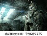 futuristic soldier posing with... | Shutterstock . vector #498293170