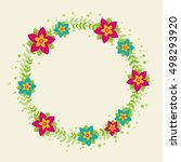 wreath with decorative frame... | Shutterstock .eps vector #498293920