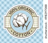 organic cotton round label with ... | Shutterstock .eps vector #498297088