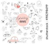 Wedding Elements Doodle Set.