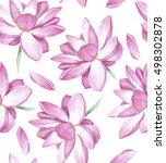 lotus seamless background  ...   Shutterstock . vector #498302878