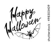 happy halloween bat message... | Shutterstock . vector #498303409