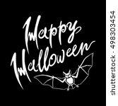 happy halloween bat message... | Shutterstock . vector #498303454