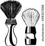 two contour shaving brushes... | Shutterstock .eps vector #498307888