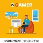 man sitting on beanbag holds... | Shutterstock .eps vector #498310540