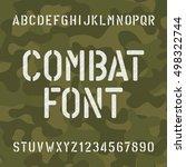 combat alphabet font. scratched ... | Shutterstock .eps vector #498322744