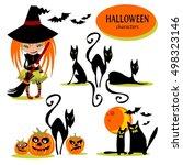 set of halloween characters.... | Shutterstock .eps vector #498323146