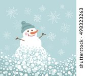 snowman with snowflakes in flat ... | Shutterstock .eps vector #498323263
