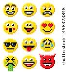 pixel art set of emoji or... | Shutterstock .eps vector #498323848