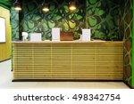 reception desk in a fitness club   Shutterstock . vector #498342754