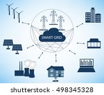 smart grid concept and cloud...   Shutterstock .eps vector #498345328