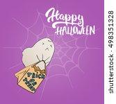 happy halloween   party hand... | Shutterstock .eps vector #498351328